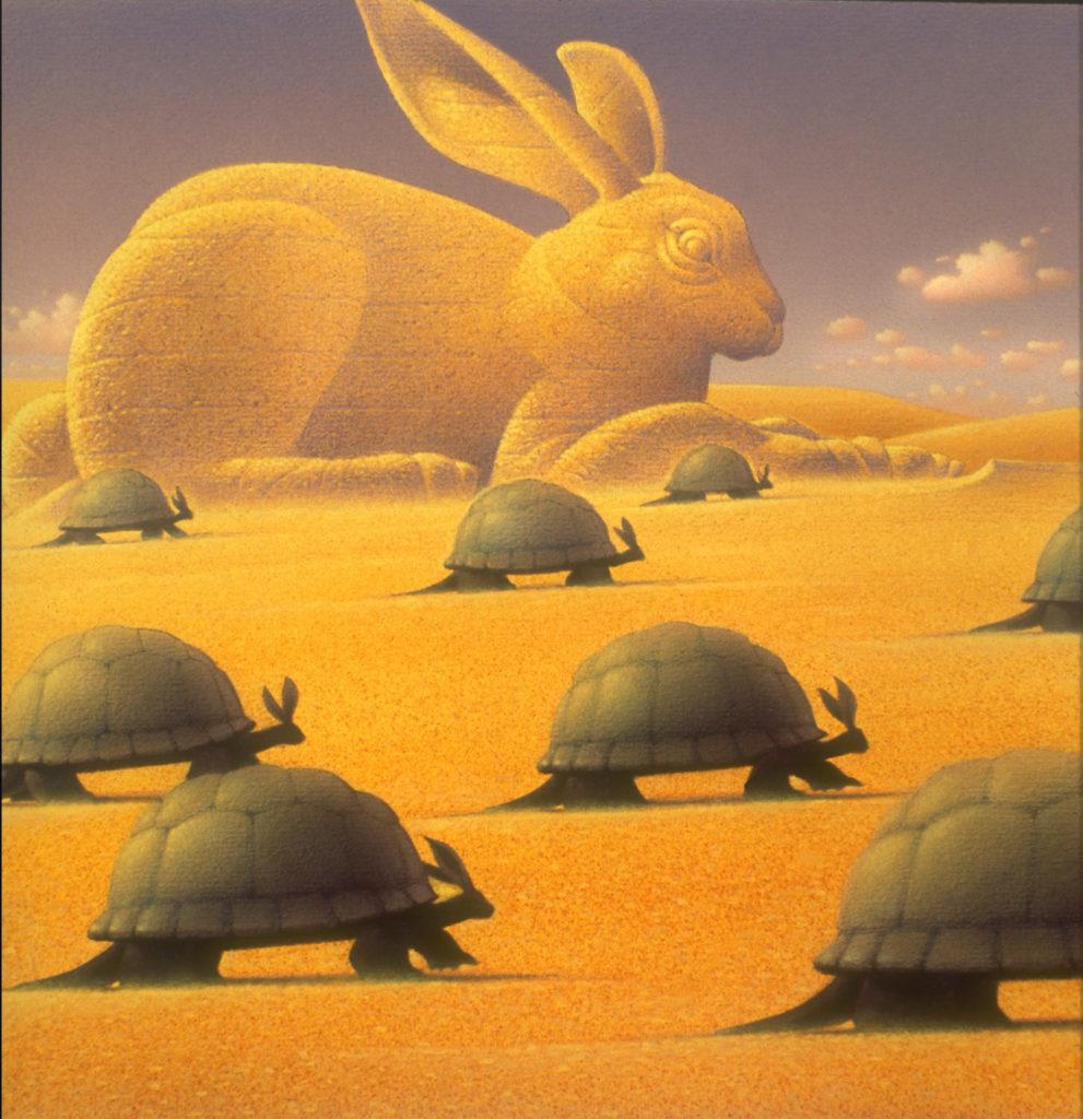 Tortoise and the Hare parody_Illustration_progress_relentless_sphinx