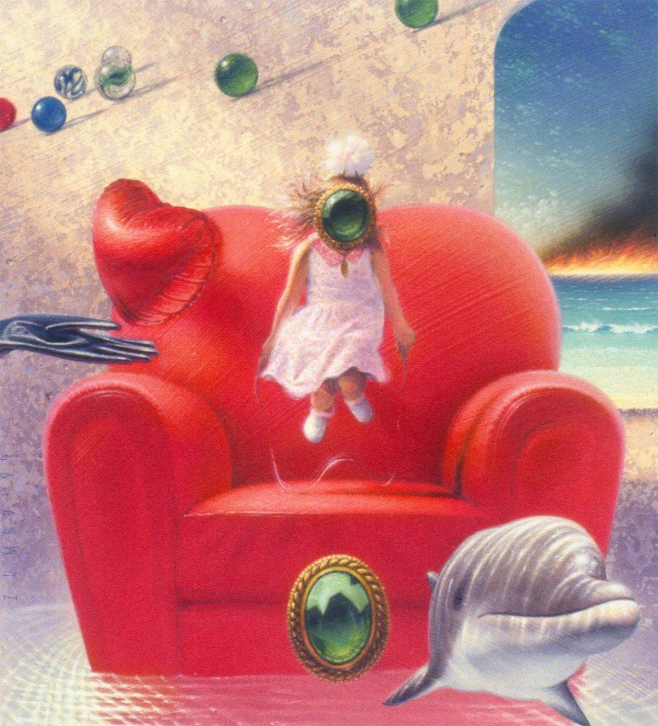 Surreal Dreamlike painted image. Skipping Childhood artwork.